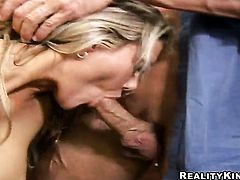 Blonde with juicy breasts and trimmed pussy sucks like a first rate hoe in steamy oral action with horny guy