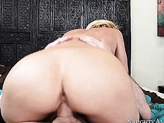 Blonde Brick Danger with phat bottom and trimmed beaver plays with mans meaty snake