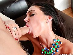 Brunette Jessica Jaymes with giant boobs and hairless twat satisfies her sexual desires with mans throbbing meat pole in her slit
