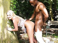 Blonde Georgie Lyall and hot fuck buddy having interracial sex