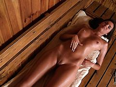 Agness with tiny breasts and hairless cunt takes her fingers so deep in her wet spot