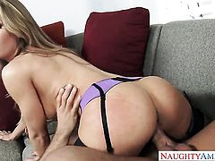 Blonde Nicole Aniston with phat butt and hairless cunt spends her sexual energy with throbbing cock in her hands