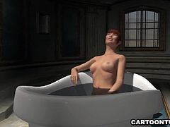 Jaw dropping 3D cartoon brunette hottie getting her soaking wet pussy eaten out and fucked