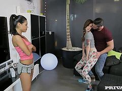 Misha Cross and Apolonia are shaking the junk in their trunk when a man enters and Misha starts to grind on him. Jealous and hungry for cock, Apolonia sends Misha on her way and gets to her knees to start sucking on the hung stud.