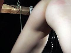A skinny blonde is tied up and submitted to pain and suffering by the master. The blonde slave is slapped, spanked because he is a kinky bad girl. The master humiliates her and makes her suck his cock and cums in her mouth so she can swallow the jizz