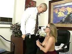 Blonde oriental Kennedy Leigh with tiny butt and smooth pussy gets cum drenched on cam for your viewing entertainment