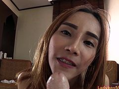 ladyboy Pink gives a blowjob to a dude with huge dick and gets her ass fucked bareback. As a reward Pink got cum in mouth.