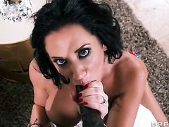 Jayden Jaymes with juicy knockers gets nailed the way she loves it in interracial sex action