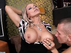 Blonde breathtaker Sasha Rose gets her throat attacked by guys throbbing cock
