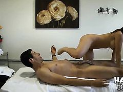 Brunette asian Jade with gigantic breasts and smooth twat takes guys throbbing meat pole deep down her throat