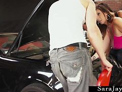 Sara Jay and Dava Foxx Handle Two Cocks in Garage!