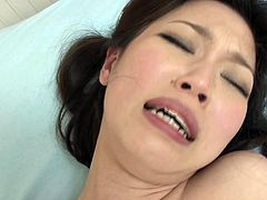 Slender Japanese girl fucked hardcore and filled with cum
