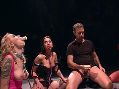 These four female slaves have no option, but to drink thick white cum, when they are thirsty. The dominant couple ordered them to be in kneeling position and took turns to fuck them. Wearing a long strap-on, Rocco Siffredi's wife fucked her new slaves brutally.