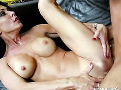 Brunette Chad White feels the best feeling ever with dudes sticky man cream all over her face
