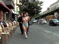 Hands tied behind her and topless, Pina is walked down the street by Steve and Mona. She gets taken inside to a party, where her whore's mouth put to good use, after some more humiliation of course. Have fun!