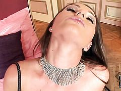With hairless bush finds herself horny and takes toy in her bush