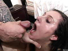 Lina Cole gets mouth slammed by mans hard fuck stick