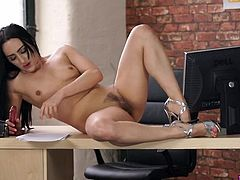 Sexy girl stripping as she reads an erotic story