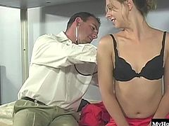 Brianna Beach has been to this doctors office before and this time, she automatically takes off her bra and panties, letting him play with her small boobs and nipples, before she reaches down, grabs his hard pole and gives him a blowjob. Before long hes screwing her shaved snapper and tight asshole before pulling out and giving her a wild facial.