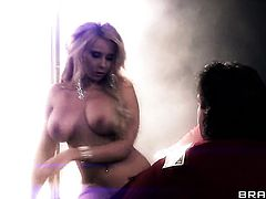 Brunette with juicy breasts is horny as hell and sucks dudes stiff pole with wild passion