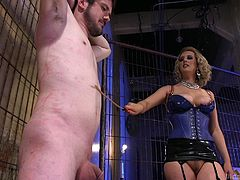 Cherry simply wanted some sex, but Slave Fluffy was not able to satisfy her, because of his small sized dick. Unsatisfied woman became an angry bitch and decided to punish him and his tiny cock. She whipped him with the twig, tortured his penis with clamps and... Join and see the whole disgracing punishment. Hot!