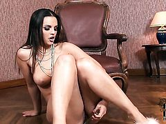 Eve Angel with smooth cunt polishing the pearl