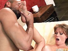 Milf Darla Crane gets her mouth fucked silly by fuck hungry guy