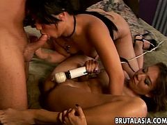 Threesome with some very arousing Asian babes who have huge melons. The babes are in deep heat and love to experiment a bit with the hot fucking they are receiving. So damn smooth.