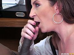 This busty hot milf stayed after a PTA meeting, to talk to the teacher. One thing led to another and soon, she found herself on her knees, sucking on that big black cock. She always wanted to go black and now she did. What a whore she is! They say once you go black, you never go back!