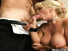 Blonde with giant breasts and bald pussy enjoys another masturbation session