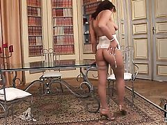 Delicious harlot Ella Brawen with tiny breasts and hairless pussy cant stop playing with herself