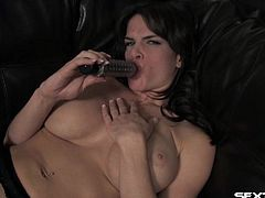 Her lacy lingerie feels good as she fucks her hole with a toy