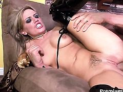 Yummy temptress Holly Wellin gives mans hard fuck stick a try