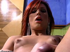 This lusty redheaded shemale could definitely bring some joy to your life. Joy Spears is a tiny tit tranny babe that loves showing off her awesome body and stroking her big and deliciously looking...