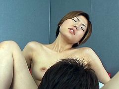 Asian cutie, wearing tight clothes, turned on a guy. He seduced her, by rubbing her boobs and inserted sex toy in her hairy pussy. Maki was going crazy, while her tiny hole was getting sticky. Have fun!