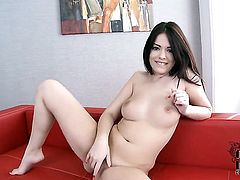 Ava Dalush with shaved twat gives pleasure to herself with the help of toy