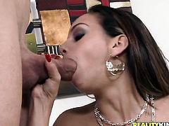 Brunette sexy Ariel Teens makes her dirty dreams a reality with dudes meat stick in her mouth