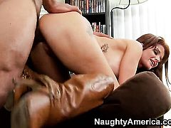 Tattoos Joslyn James with massive jugs and bald snatch loves the way man fucks her love box...