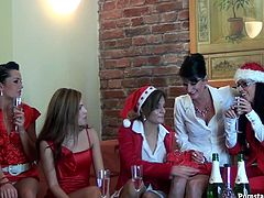 Sassy bitches organise for a nasty christmas lesbians orgy