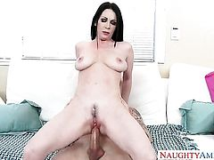 Brunette Rayveness with smooth muff gets sperm covered