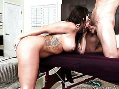 Brunette exotic Robby Echo with huge jugs satisfies dudes sexual needs and then gets her lovely face