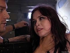 Vera Drake was abducted by Ramon Nomar and she was dictated to be his slave. To teach her the duties of a slave, he tied her in a dungeon and the brunette's face turned red with humiliation. She continued crying, while giving blowjob to him, but he didn't show mercy. Hardcore BDSM encounter for you!