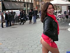 Public ass flashing babe takes a seat on his dick