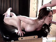 Brunette Molly Jane shows oral sex tricks to hot blooded man with passion