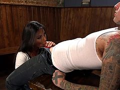 Ruckus was feeling happy to seduce Jaquelin Braxton. Her style of playing with breasts looks pretty slutty and he was imagining the positions, to fuck her ass hole. Everything was good, till the handjob and cock sucking. When Jaquelin removed her skirt, Ruckus was shocked to see a big cock, which drilled his ass later.