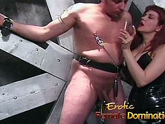 Kinky stud lets a redhead slut pleasure his cock in the dung