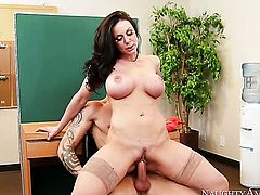 Brunette asian Kendra Lust with big jugs and smooth twat is a facial cum slut