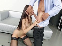 This slim bitch with long hair removes her clothes with sensual movements. She's got a provocative regard, while sucking cock, on knees. Sasha is clearly a slutty babe, who's been craving for a man's attention and knows exactly, what to do to get all she wants!
