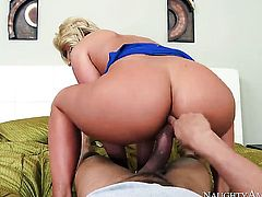 Blonde asian Phoenix Marie with giant breasts and clean cunt makes dudes sexual fantasies a reality