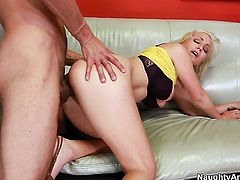 Blonde Lexi Swallow with giant breasts and clean twat takes the cumshot of her dreams